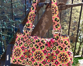 Hot Pink Cotton Print Floral Shoulder Bag, Handbag, Purse