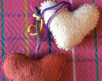 Handmade Mexican Wool Heart Ornaments
