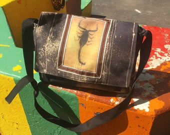 Hand Treated Black Canvas Scorpion Messenger Bag,  Canvas Courier Bag,