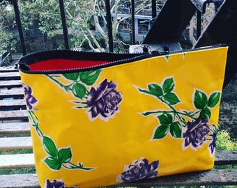 "Women's 14"" Yellow and Purple Rose Oil Cloth Travel Bag,  Laptop/Portfolio Case, Zipper Pouch"
