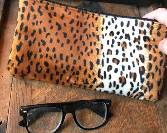 "Fake Fur Leopard 10"" Pencil Case, Cosmetic Case, Make Up Bag"