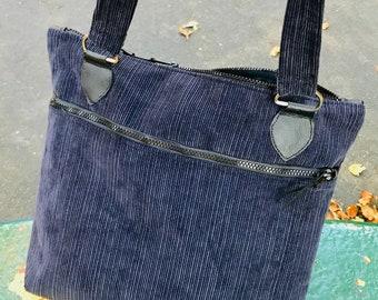 Navy Blue Corduroy Zipper Top Tote Bag, Shoulder Bag