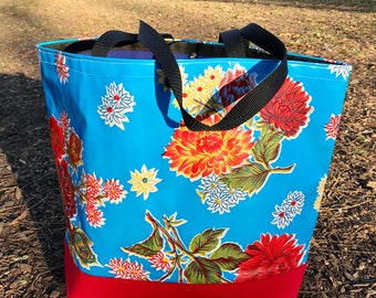 Large Blue Floral Mum Oil Cloth and Canvas Trimmed Beach Bag, Oil Cloth Tote Bag