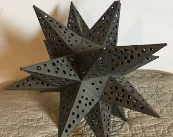 "Punched Oxidized Tin Mexican Star, 18"" Moravian Star"