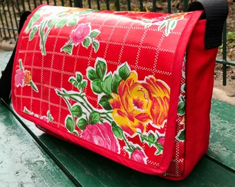 Red Floral Oil Cloth and Canvas Courier Bag, Love Shine Rose Oil Cloth Messenger Bag