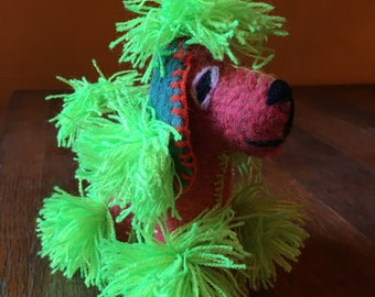 Handmade Mayan Woven  Wool Poodle, Stuffed Animal, Twoolie Green Fur Poodle Dog