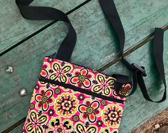 Pink Floral Crossbody Shoulder Bag, Cotton Flat Messenger Bag