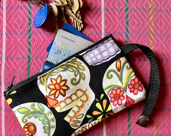 "Sugar skull cotton print wristlet, Cell phone case, 7"" zippered pouch"