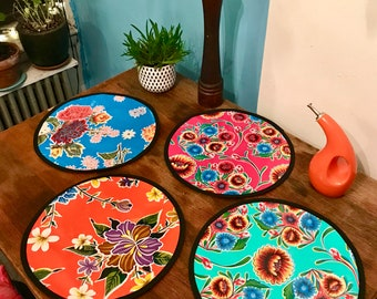 "Set of Two 15"" Round Floral Oil Cloth Placemats, Table mats"