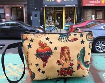 "Cotton Tattoo Print Wristlet, Sailor Jerry 7"" Clutch Purse,  Pouch, Cosmetic Make Up Bag."