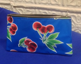 """9"""" Blue Oil Cloth with Cherries Pencil Case, Cosmetic Bag, Toiletry Pouch"""