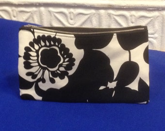 "Black and White Floral Cotton Canvas 9"" Pencil Case, Cosmetic Bag, Toiletry Pouch"