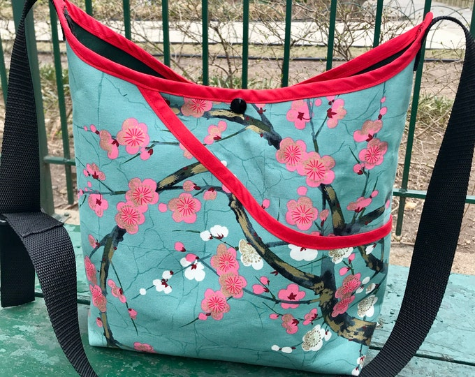 Featured listing image: Cotton Asian Print Cherry Blossom Market Bag, Floral Japanese Print Crossbody Tote Bag
