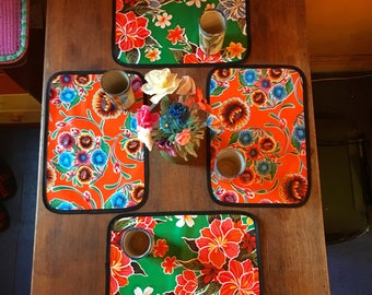 Set of 4 Floral  Reversible Oil Cloth Placemats, Table top mats