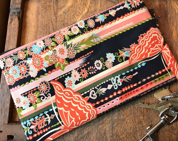 """Featured listing image: Black Floral Butterfly Asian Print Clutch Bag,  Cosmetic Pouch, Pencil Case, Make Up Bag, All Purpose 10"""" Pouch"""