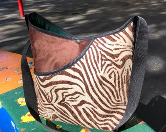 Brown Zebra Print Crossbody Market Bag, Patchwork Messenger Bag
