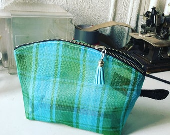 "Turquoise Green Mesh Plaid 9"" Zipper Pouch, Travel Case, Make Up Cosmetic Bag, Toiletry Case"