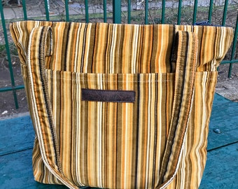 Gold and Brown Striped Corduroy Zipper Top Tote Bag, Shoulder Bag
