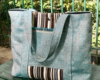 Turquoise Upholstery and  Striped Corduroy Tote Bag, Market Bag