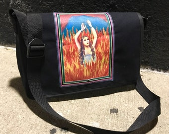 Anima Sola Canvas Messenger Bag, Bleach Painted Courier Bag, Crossbody Book Bag
