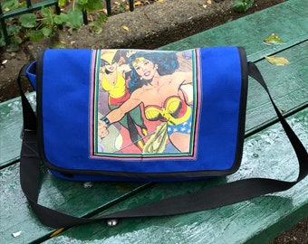 Wonder Woman Courier Bag,  Crossbody Canvas Comic Superhero Messenger Bag