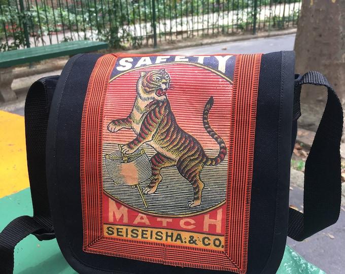 Featured listing image: Vintage Japanese Tiger Canvas Messenger Bag, Matchbox Art Day Bag, Courier Bag