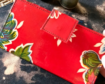 Red Floral Oil Cloth Wallet, Vinyl Checkbook Clutch