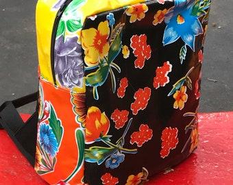 Black Floral Patchwork Oil Cloth Backpack Bag, Knapsack