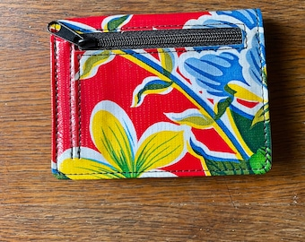 Red Floral Love Shine Oil Cloth Two Fold Wallet, Vinyl Credit Card