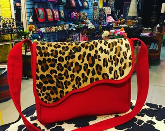 Red Canvas and Leopard Cross body Shoulder Bag, Messenger Bag, Courier Bag