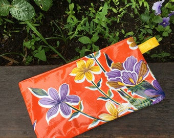 "10"" Orange Floral Oil Cloth Pencil Case, Cosmetic Bag, Make Up Bag, Oil cloth Pouch"