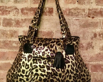 Large Metallic Gold and Black Leopard Print Hip Bag, Love Shine Shoulder Tote Bag,