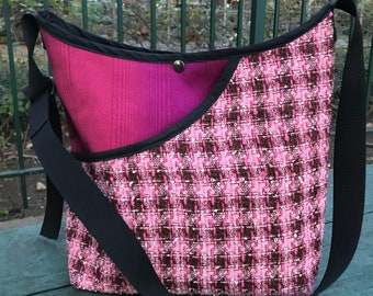 Pink Brown Plaid Tweed Market Bag, Love Shine Cross Body Shoulder Tote