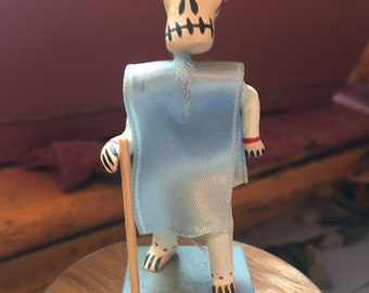 Mexican Day of Dead Figurine, Dia de los Muertos Man with Blue Pancho