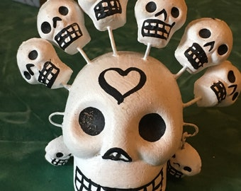 Mexican Ceramic Day of the Dead Skull with Mini Skulls and Heart