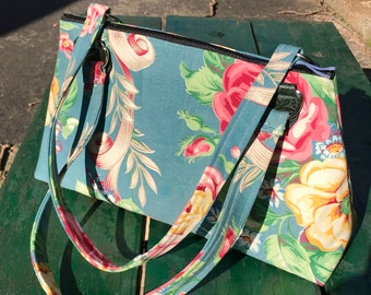 Floral Rose Cotton Print Shoulder Bag, Vintage Upholstery Handbag Purse