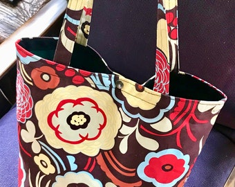Brown Floral Mocha Garden Cotton Print Classic Tote Bag, Market Bag, Shopper