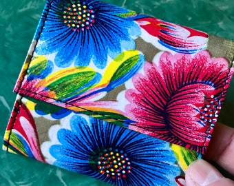 Love Shine Vinyl Mexican Floral Oil Cloth French Purse Trifold Women's Wallet