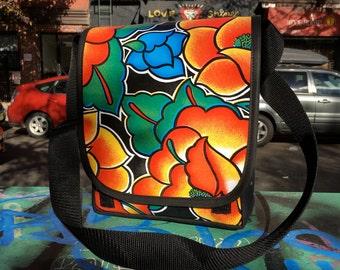 Floral Oil Cloth and Canvas Messenger Bag, Oil Cloth Courier Bag, Daybag, Crossbody Bookbag