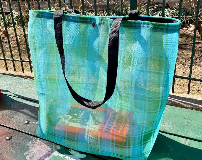 Featured listing image: Large Green Aqua Plaid Mexican Mesh Market Tote Bag, Mercado Bag, Beach Bag