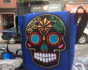 Sugar Skull Blue Canvas Courier Bag, Blue Canvas Shoulder Messenger Bookbag With Dia de los Muertos Sugar Skull Patch