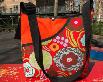 Cotton Orange Floral Print Market Bag, Crossbody Tote bag
