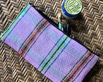 """Plaid Mexican Mesh 10"""" Pencil Case, Travel Case, Zipper Pouch Bag"""