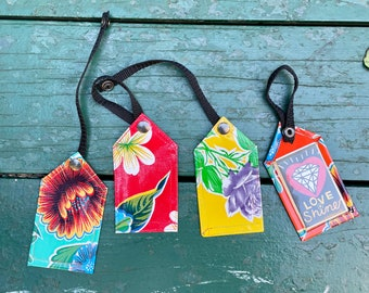 Set of two Love Shine Oil Cloth Luggage Tags, Travel Tags