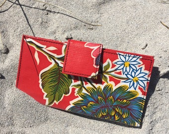 Red Floral Oil Cloth Wallet, Checkbook Clutch