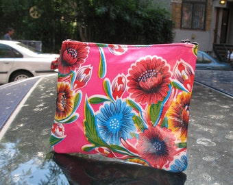 "Hot Pink Mexican Floral Oil Cloth Cosmetic Case, 7"" Oil Cloth Coin Case, Accessory Pouch"