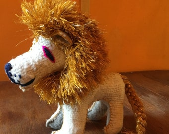 Handmade Natural Wool Mayan Glitter Gold Mane Lion, Stuffed Animal, Mexican Woven Art, Twoolie
