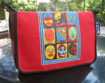 Lucha Libre Mask Canvas Courier Bag, Red Canvas Mexican Wrestler Messenger Bag, Superhero Crossbody Bookbag