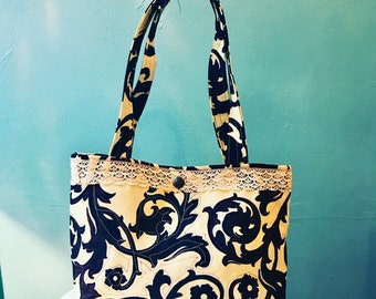 Love Shine Black and White Floral Cotton Print Tote Purse