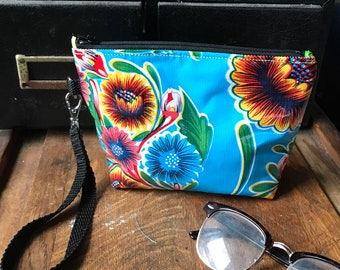 "Blue Floral Mexican Oil Cloth 7"" Swinger, Wristlet Clutch Bag, Oil Cloth Pouch"